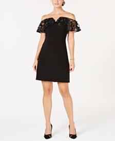 MSK Petite Illusion Cold-Shoulder Dress