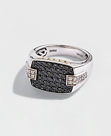 EFFY® Men's Black Sapphire (1-1/3 ct. t.w.) & White Sapphire (1/2 ct. t.w.) Ring in Sterling Silver, 14k Gold & Black Rhodium-Plate