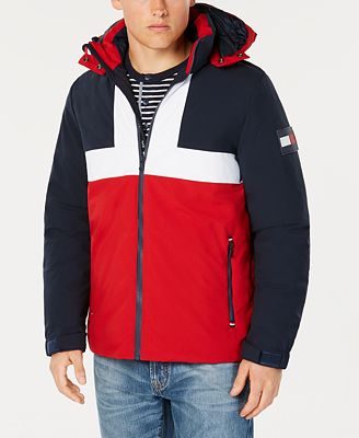 Tommy Hilfiger Men S Colorblocked Ski Jacket With Removable Hood