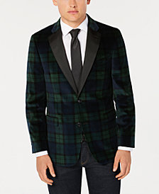Tommy Hilfiger Men's Modern-Fit Green/Navy Velvet Sport Coat