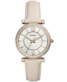 Fossil Women's Carlie Winter White Leather Strap Watch 35mm