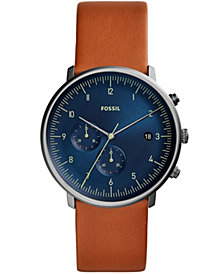Fossil Men's Chronograph Chase Timer Luggage Leather Strap Watch 42mm