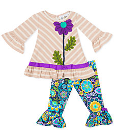 Rare Editions Baby Girls 2-Pc. Flower Tunic & Printed Leggings Set