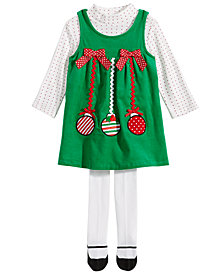 Blueberi Boulevard Baby Girls 3-Pc. Ornament Jumper Set