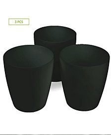 Mind Reader 3 pc Multi Purpose Trash Bin Set for Bath, Counter Top, Black - 8""