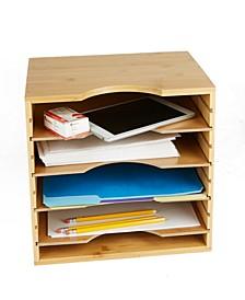 Vertical 4 Tier File Organizer Box, Bamboo Brown