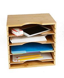 Mind Reader Vertical 4 Tier File Organizer Box, Bamboo Brown