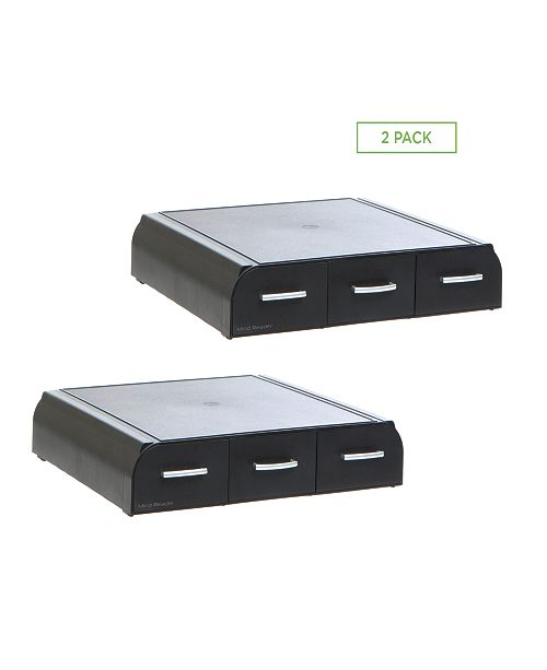 Mind Reader Monitor Stand and Desk Organizer with Storage, 2-Pack, Black