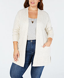 Style & Co Plus Size Ribbed-Knit Open-Front Cardigan, Created for Macy's