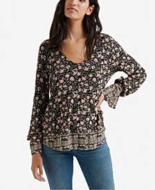 Lucky Brand Border-Print Bell-Sleeved Top, Created for Macy's