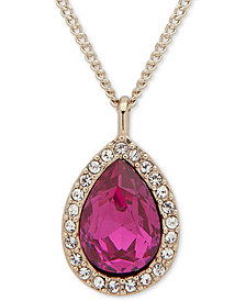 "Givenchy Pavé & Stone Pear Pendant Necklace, 16"" + 3"" extender, Created for Macy's"