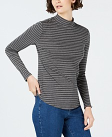 Cotton Striped Mock-Neck T-Shirt, Created for Macy's