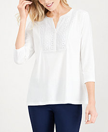 Karen Scott Crochet-Bib Henley Top, Created for Macy's