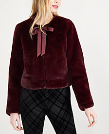 Maison Jules Tie-Neck Faux-Fur Jacket, Created for Macy's