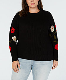 Lucky Brand Trendy Plus Size Embroidered Sweater