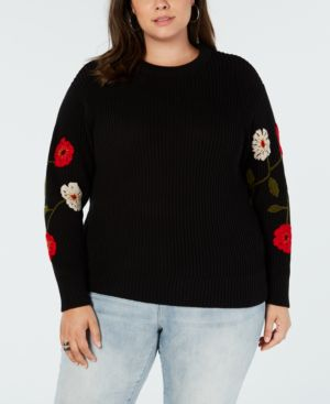 Trendy Plus Size Embroidered Sweater, Black Multi