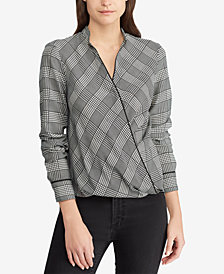 Ralph Lauren Petite Glen Plaid Wrap Top
