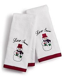CLOSEOUT! Martha Stewart Collection Snowman Cotton Embroidered 2-Pc. Fingertip Towel Set, Created for Macy's