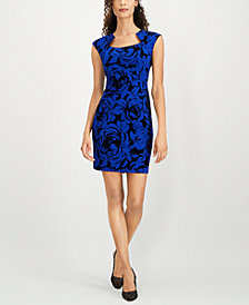 Connected Petite Flocked Floral Sheath Dress
