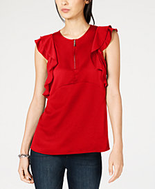 MICHAEL Michael Kors Ruffled Zip-Up Top, In Regular & Petite Sizes