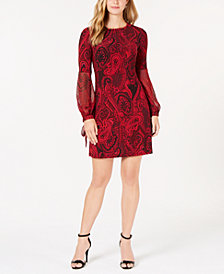 Tommy Hilfiger Paisley Tie-Sleeve Dress