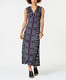 Style & Co Printed V-Neck Maxi Dress, Created for Macy's