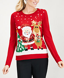 Karen Scott Petite Santa & Reindeer Sweater, Created for Macy's