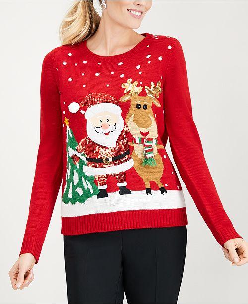 Karen Scott Christmas Santa Sweater, Created for Macy's