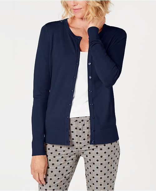 Charter Club Petite Crewneck Cardigan, Created For Macy's