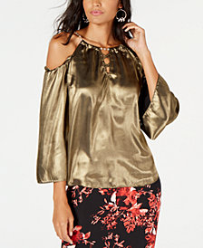 Thalia Sodi Metallic Cold-Shoulder Top, Created for Macy's