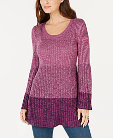 Style & Co Striped Bell-Sleeve Tunic, Created for Macy's