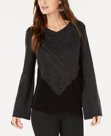 Style & Co Petite Colorblocked Mixed-Stitch Sweater, Created for Macy's