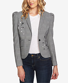 CeCe Embroidered Plaid Blazer