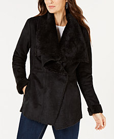 Style & Co Faux-Suede Faux-Fur Drape Coat, Created for Macy's