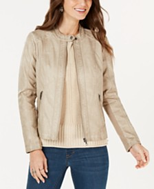 Style & Co Petite Faux-Leather Moto Jacket, Created for Macy's