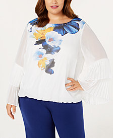 Alfani Plus Size Pleated Bell-Sleeve Top, Created for Macy's