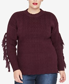 RACHEL Rachel Roy Trendy Plus Size Tassel-Trim Sweater