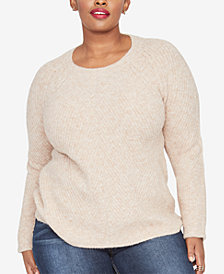 RACHEL Rachel Roy Trendy Plus Size Cable-Knit Sweater
