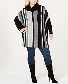 Joseph A Plus Size Striped Cowl-Neck Poncho Sweater