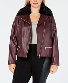 MICHAEL Michael Kors Plus Size Faux-Leather Moto Jacket