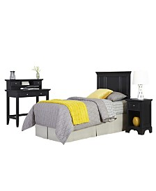 Home Styles Bedford Twin Headboard, Night Stand, and Student Desk