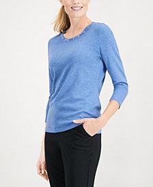Karen Scott Grommet-Trimmed Knit Top, Created for Macy's