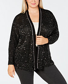 John Paul Richard Plus Size Chain-Trim Sequined Cardigan
