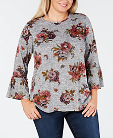 John Paul Richard Plus Size Floral-Print Flared-Sleeve Top