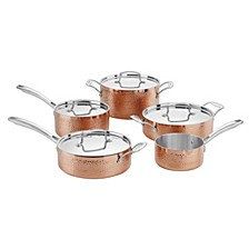 Hammered Collection Copper Tri-Ply 9 Piece Cookware Set