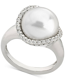 Majorica Sterling Silver Cubic Zirconia & Imitation Pearl Statement Ring