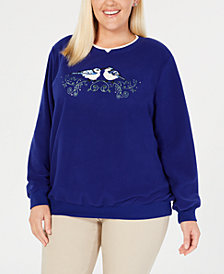 Alfred Dunner Plus Size Classics Bluebirds Layered-Look Sweatshirt