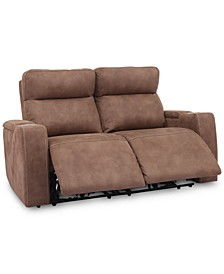 "CLOSEOUT! Oaklyn 61"" Fabric Loveseat With 2 Power Recliners, Power Headrests And USB Power Outlet"