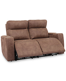 """Oaklyn 61"""" Fabric Loveseat With 2 Power Recliners, Power Headrests And USB Power Outlet"""