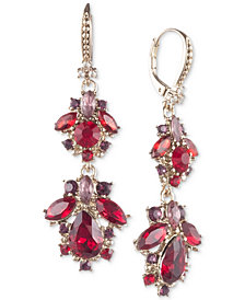 Marchesa Gold-Tone Stone & Crystal Cluster Drop Earrings.